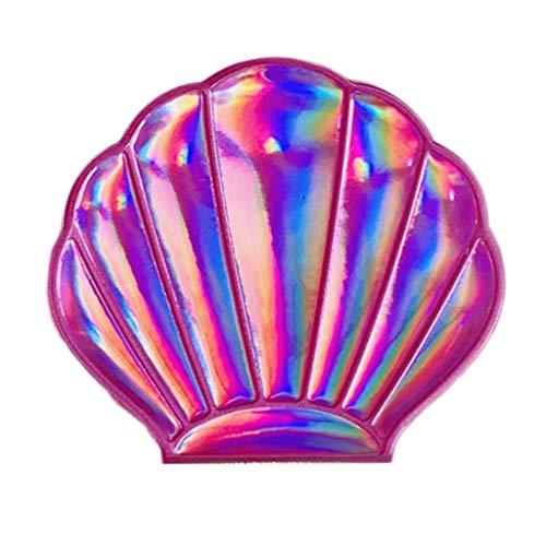 Gergxi Miroir de poche créatif, en forme de coquillage holographique arc-en-ciel, grossissant compact, double face, pliable, portable, bleu