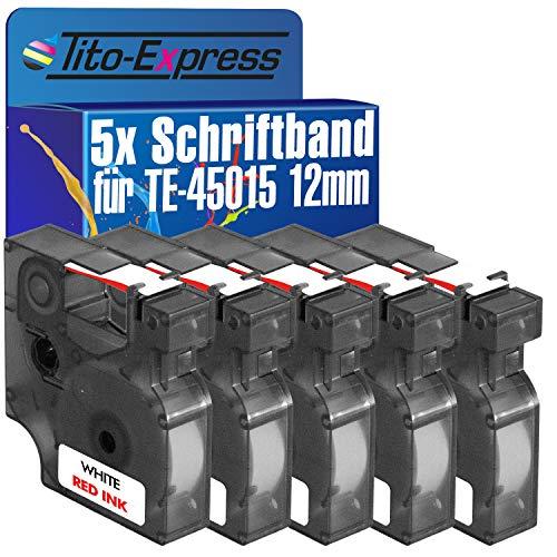 Tito-Express Platinum Serie 5 Casetes de cinta compatibile con Dymo D1 45015 12mm Dymo 1000 Plus 2000 3500 5500 Labelmanager PC PC-2 PnP Pocket