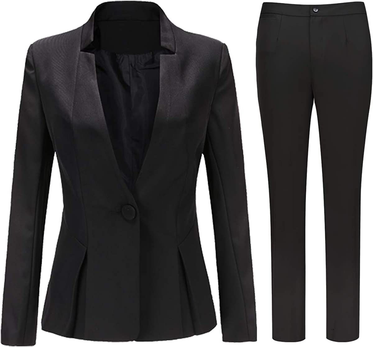 Women's Slim Fit 2 Piece Suit Set 1 Button Blazer Jacket and Suit Pants