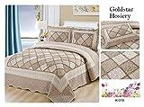 GS Luxury - Juego de Colcha de 3 Piezas Bordada y Acolchada con diseño de Patchwork, Incluye 1 Colcha y 2 Fundas de Almohada, 2 tamaños, Gs K019, Double: 220 x 240 cm