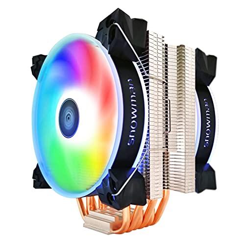 CPU Cooler 6 Tubos de Calor 120 mm 4 Pin PWM RGB para Intel LGA 1200 1150 1151 1155 2011 AMD AM4 AM3 CPU FANE DE ENFRIENCIA PC SILLAD (Blade Color : RGB X 2 Fan, Blade Quantity : 4 Pin PWM)