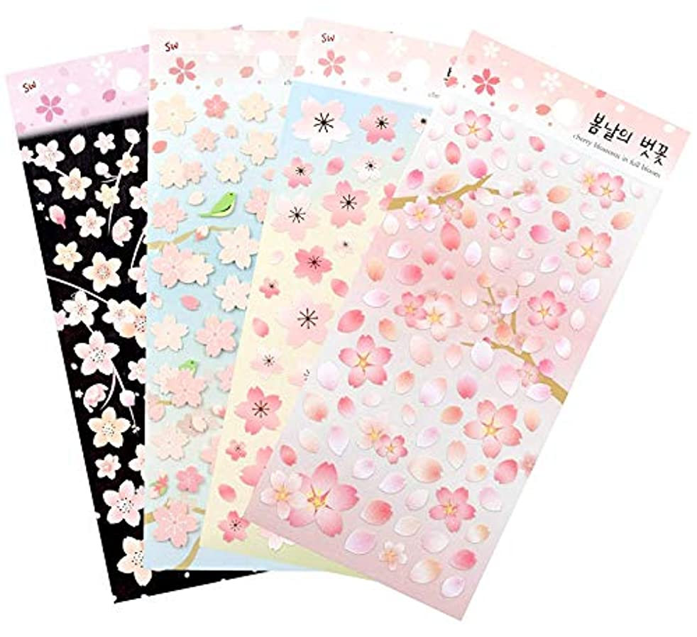 Cherry Blossoms in full Bloom / Sakura Sticker Sheets (4 pack) Diary Decoration Sticker Scrapbooking Craft Sticker