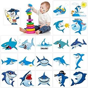 Shark Temporary Tattoos 100pcs ,Konsait Shark Tattoo Body Stickers Costume Accessories for Ocean Sea Shark Themed Baby Shower Birthday Party Favor Supplies Decor for Boy Girls Kids Party Bag Filler
