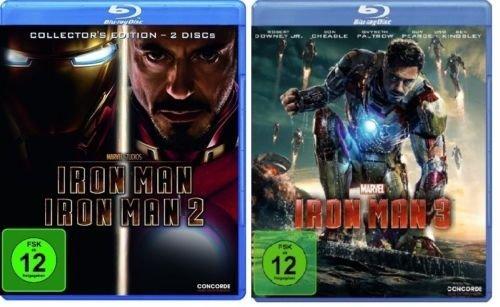Iron Man 1/2+3 im BluRay Set - Deutsche Originalware - [3 BluRays]