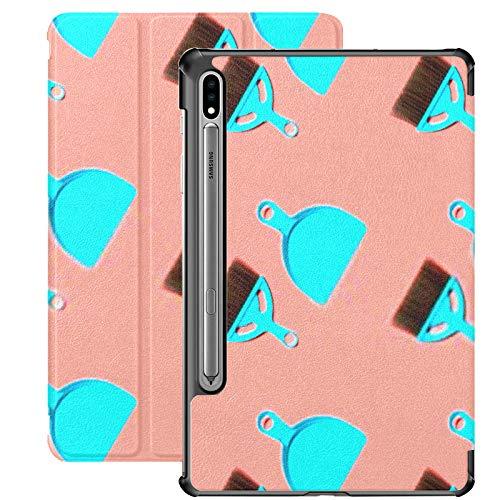 Funda Galaxy Tablet S7 Plus de 12,4 Pulgadas 2020 con Soporte para bolígrafo S, Cepillo para recogedor Azul pálido sobre Soporte Delgado Funda Protectora Tipo Folio para Samsung
