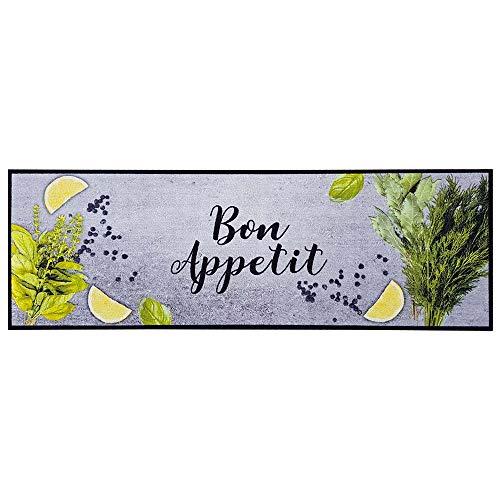 Teppich Boss Küchenläufer Bon Appetit grau gelb, waschbar rutschfest, 50x150 cm