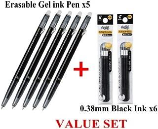 Pilot FriXion Ball slim Retractable Erasable Gel Ink Pens,fine Point, - 0.38 Mm - Black Ink- Value set of 5 & 6 Gel Ink Pen Refill Pack