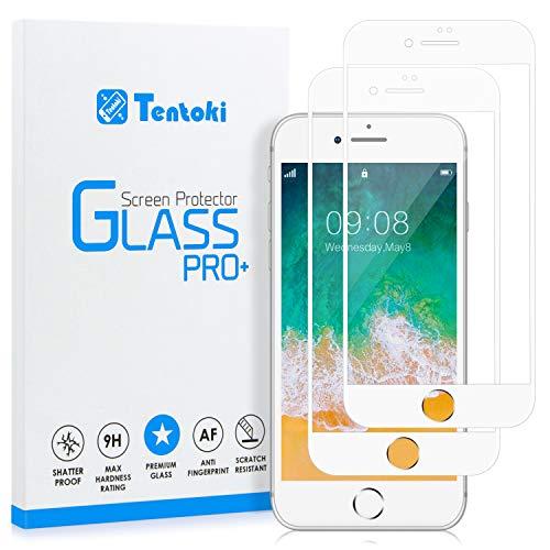 Tentoki - Protector de pantalla de cristal templado para iPhone 6/6S, dureza 9H, alta transparencia, sin burbujas