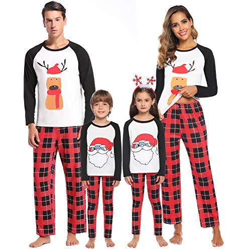 Aibrou Weihnachten Kinder Schlafanzug Xmas Pyjama Set Rentier Shirt und Karierte Hose für Damen Herren Kinder Familien Outfit XL