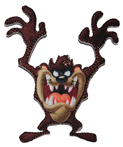 alles-meine.de GmbH Bügelbild - Looney Tunes - Taz tasmanischer Teufel - 7 cm * 8,5 cm - Comic Figur - Aufnäher Applikation - gewebter Flicken - Aufbügler - tasmanische Looneytun..