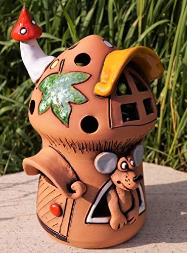 Dekostüberl Rostalgie Keramik Windlicht Häuschen mit Maus 18cm Tischdeko Handarbeit Geschenk