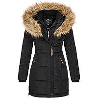 Geographical Norway Belissima - Chaqueta de invierno para mujer con capucha de piel XL negro L
