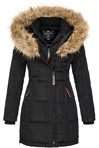 Geographical Norway Beautiful - Piumino da donna, con cappuccio in pelliccia nero Medium