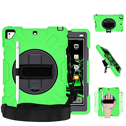 GROLEOA iPad 9.7 Case Drop Protection Military level Rugged Protective iPad 5th 6th Generation Case 360 Rotation Stand+Hand Strap+Shoulder Strap+Pencil Holder Case for iPad Air 2 Pro 9.7 (Black+Green)