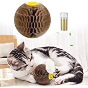 Cat Toys for Indoor Cats, Upgrade Catnip Kitten Toys for Cats, Cardboard Scratch Ball Refillable Catnip Toy Cat Tickle Toy Set with Catnip, Cat Interactive Toys for Kitten Scratching Playing