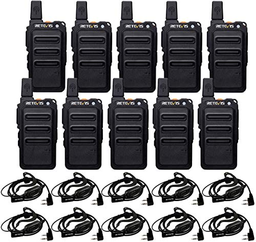 Retevis RT19 Ultra-Slim Two Way Radios,Portable FRS Walkie Talkies Adults with Earpiece,Rechargeable 1300mAh Battery,Metal Clip,for Security Retail Healthcare(10 Pack)