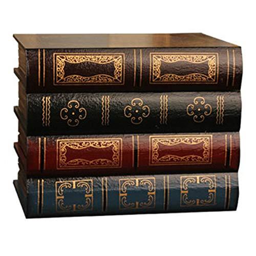 WOVELOT Caja De Libro Falso Accesorios De Almacenamiento Vintage Embalaje De Almacenamiento De Joyas De Libro Ornamento Libro De Estudio Madera Antiguo CláSico Decorativo