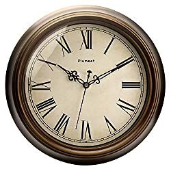 Plumeet Large Retro Wall Clock - 13'' Non Ticking Classic Silent Roman Clocks Decorative Kitchen Living Room Bedroom - Battery Operated (13, Bronze)