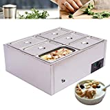6 Pot Commercial Food Warmer 110V Buffet Food Warming Tray, 850W Countertop Electric Table Steamer Stainless Steel Soup Pot 30 to 85° Adjustable 6-Pan Food Warmer for Catering, Restaurants