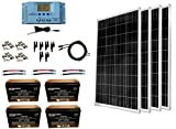 WindyNation 400 Watt Solar Kit: 4pcs 100W Solar Panels + P30L LCD PWM Charge Controller + Mounting Hardware + Cable + PV Connectors + AGM Battery for RV, Boat, Cabin, Off-Grid 12 Volt System