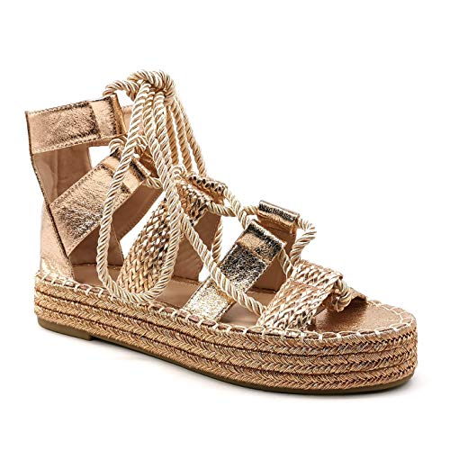 Angkorly - Damskor sandaler – spanska – stora platåskor – Böhmen – rep – med halm – snörning kilklack 7 cm, - champagne - 38 EU