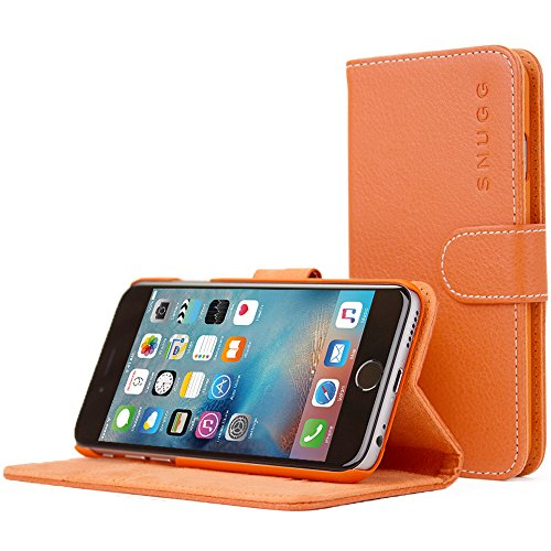 Schutzhülle iPhone 6, Snugg ™ – Flip Flip-Cover/Smart Hülle Leder orange Apple iPhone 6