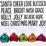 Tenare 2 Sheets Christmas Words Vinyl Decals 32 Words Christmas Greeting Vinyl Sticker Christmas Inspired Words Sticker for Christmas Ball Bottle Ornaments, 1.6 Inch in Each Letter Height (Black)