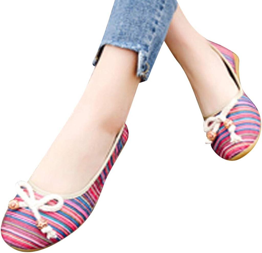 YWLINK Zapatos De Mujer Low-Top con Estilo Nacional Zapatos Individuales Cu/ñAs Ligeras Zapatos Perezosos Bohemia Zapatos Romanos Zapatos Casuales De Playa Fiesta