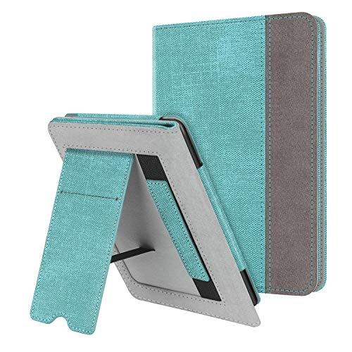 Fintie Stand Case for Kindle Paperwhite (Fits All-New 10th Generation 2018 / All Paperwhite Generations) - Premium PU Leather Protective Sleeve Cover with Card Slot and Hand Strap, Turquoise/Brown
