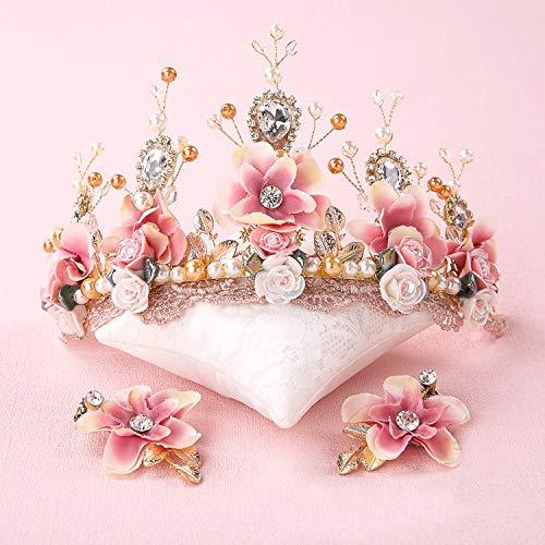 XKMY Pines de pelo nupcial dulce novia rosa hecha a mano con...