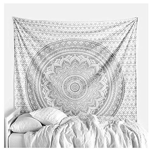 Tapiz de mandala gris plateado para colgar en la pared / tapices de hippie psicodélico bohemio de algodón indio // decoración de pared de elefante / manta de toalla de playa para esterilla de yoga