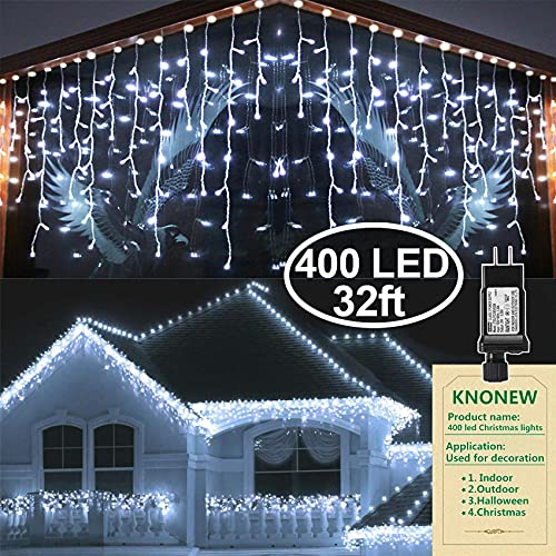 KNONEW LED Iciclelights, 400 LED, 33ft, 8 Modes, Curtain Fairy Light with 75 Drops, Clear Wire LED String Decor for Christmas/Thanksgiving/Easter/Halloween/Party Backdrops Decorations (Cool White)