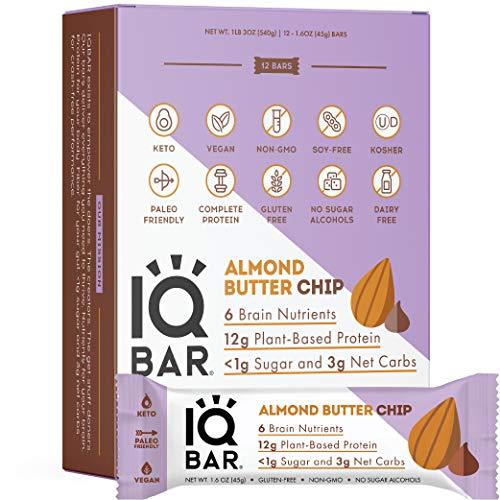 IQBAR Brain + Body Protein Bars | Almond Butter Chip | Keto,...