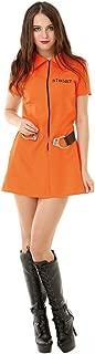 Intimate Inmate Women's Halloween Costume Orange Black Jailbird Prison Jumpsuit