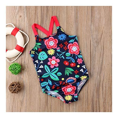 xiaofeng214 Manera Ocasional de la impresión Delgada niño niños bebés florecen con Espalda Cruzada del Traje de baño del Traje de baño natación Ropa (Color : 2, Size : 90)