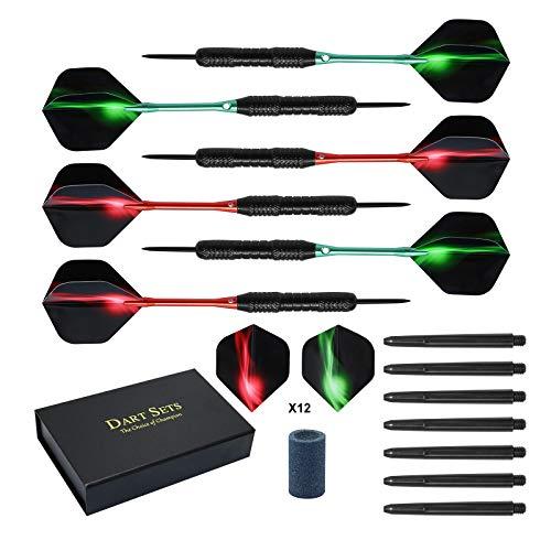 Hoypeyfiy Paquete de 6 plumas con eje de aluminio 2 estilo 23 g, punta de acero con caja de regalo (rojo+verde+caja de regalo)