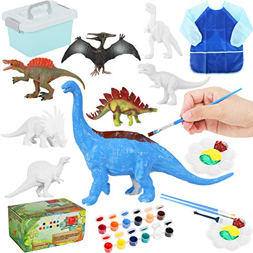 ARANEE Dinosaurier Malset für Kinder, 18 Stck 3D Dinosaurier Spielzeug Malsets Kreativität Basteln DIY Geschenk für Weihnachten Geburtstag