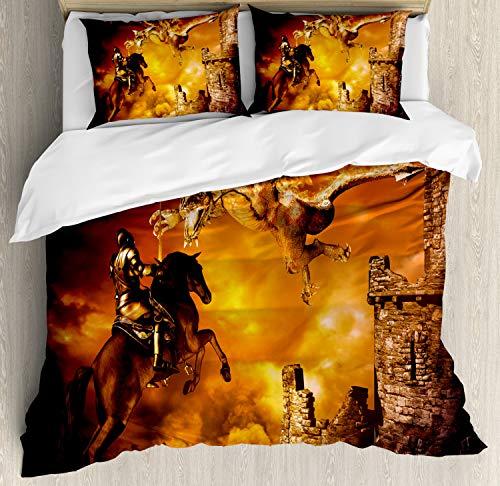 ABAKUHAUS Modern Dekbedovertrekset, Ridder op Paard, decoratieve 3-delige bedset met twee sierslopen, Black and Marigold