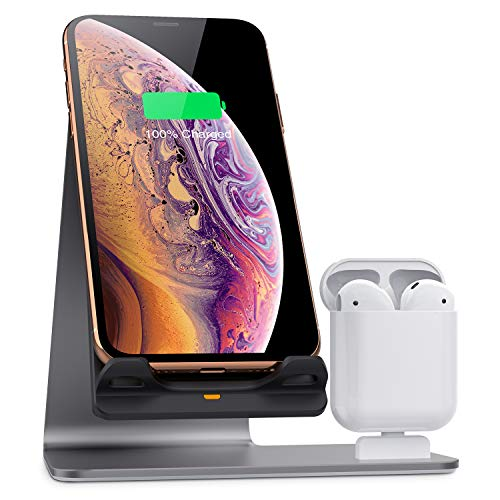 Bestand Wireless Charger Stand, Fast Wireless Charger Dock Compatible with Airpods/iPhone X/Xs/iXs Max/XR/8 Plus/ 8/Samsung Galaxy S10/S9/S9+, Grey