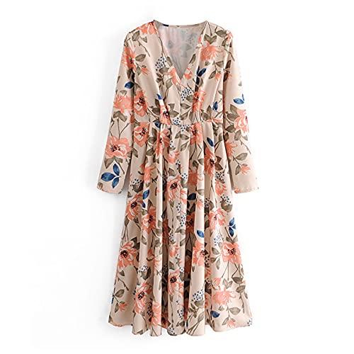 SHENSHI Women Dresses,Floral Print Boho Elegant Pleated Female Vintage Midi Dress,Print,X,Small