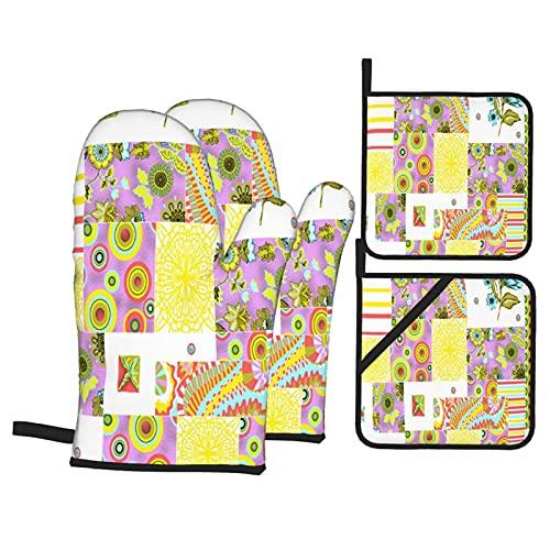 Juegos de Manoplas y Porta ollas para Horno,Diseño de impresión de Fondo Colorido Guantes de Cocina Resistentes al Calor para Hornear en la Cocina, Parrilla, Barbacoa,BBQ