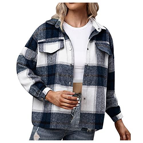 Kariertes Damen Oversize Jacke Taschen Knöpfen Übergangsjacke Langarm Leichte Hemd Jacke E-Girl Style Y2K Herbst Oberteile Top