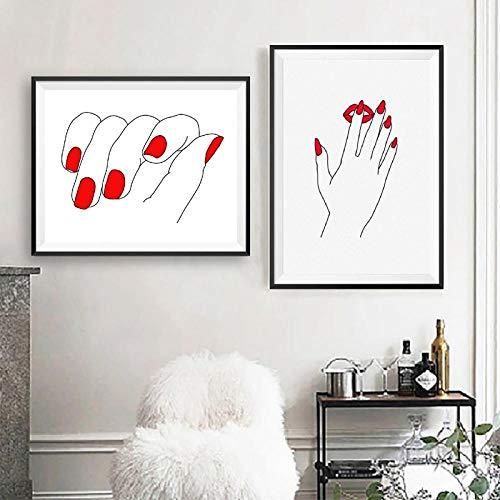 TXTYUMR Chica Rojo uñas línea Pared Arte Lienzo Pintura manicurista Regalos Pared Arte póster Impresiones salón de Belleza decoración de Pared/sin Marco
