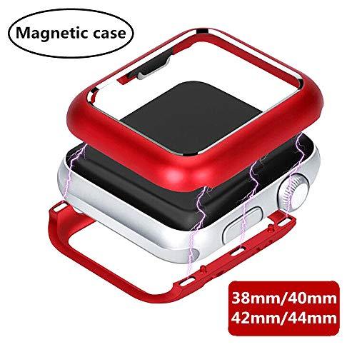 Custodia In Metallo Ad Adsorbimento Magnetico Per Apple Watch Serie 5/4/3/2/1, Tecnologia Di Adsorbimento Magnetico Telaio In Alluminio, Custodia Protettiva Antiurto All-Around (44mm, rosso)