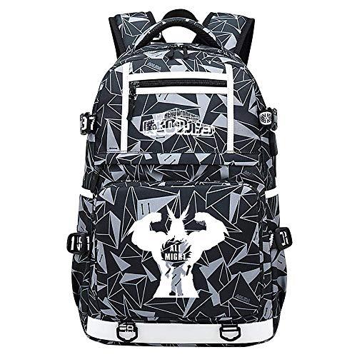 My Hero Academia Deku/Todoroki Shoto/bakugou Katsuki USB Unisex Backpack Waterproof daypacks for School Trips-F,Colour Name:D qingqiao (Color : B)
