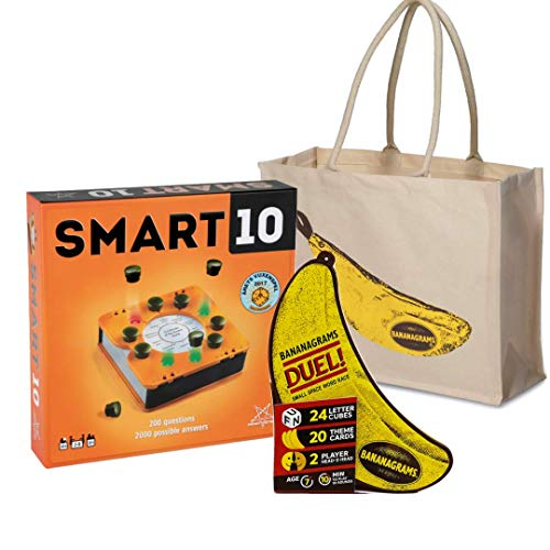 Party Games Bundle: Bananagrams Duel Smart 10 and a Tote Bag