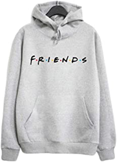 Metermall Shirt Women Fashion Friends Letter Printing Long Sleeve Hooded Sweatshirts
