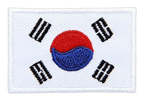 Patch Südkorea Flagge Klein South Korea Asien Aufnäher Bügelbild Größe 4,5 x 3,0 cm