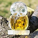H & D Kristall Figur Eule Kollektion Briefbeschwerer Tisch Mittelpunkt Ornament, gelb - 6