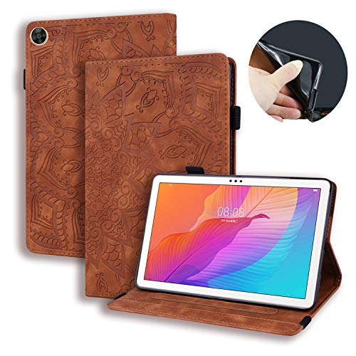 Succtop Funda para Huawei MatePad T10S/ T10 2020 PU Cuero Folio Cover con Soporte Billetera Banda Lápiz Tablet Funda Huawei MatePad T10S 10.1/ T10 9.7 2020 Marrón